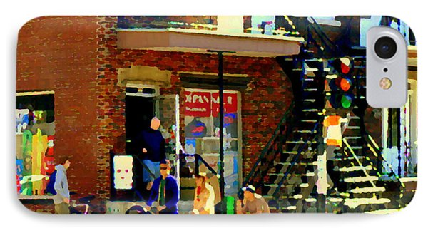 Corner Laurier Marche Maboule Depanneur Summer Stroll With Baby Carriage Montreal Street Scene Phone Case by Carole Spandau