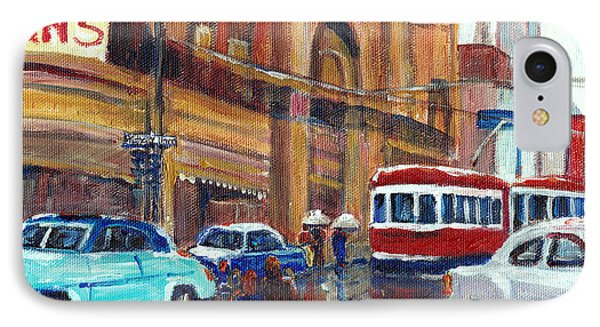 Corner St.catherine And Union Streets-fifties Montreal-vintage Street Scene Phone Case by Carole Spandau