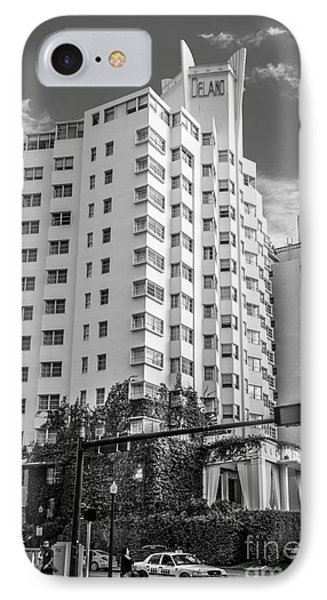 Corner View Of Delano Hotel And National Hotel - South Beach - Miami - Florida - Black And White IPhone Case by Ian Monk