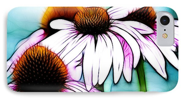 Aqua And The Coneflowers IPhone Case by Sherry Wyne