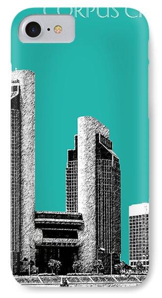 Corpus Christi Skyline - Teal Phone Case by DB Artist