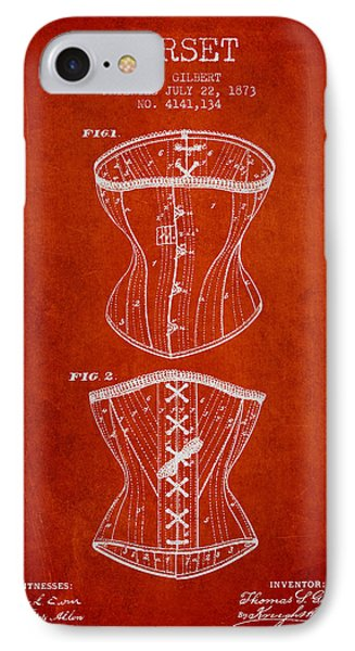 Corset Patent From 1873 - Red IPhone Case by Aged Pixel