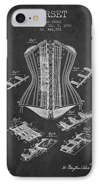 Corset Patent From 1890 - Dark IPhone Case by Aged Pixel
