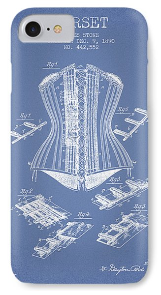 Corset Patent From 1890 - Light Blue IPhone Case by Aged Pixel