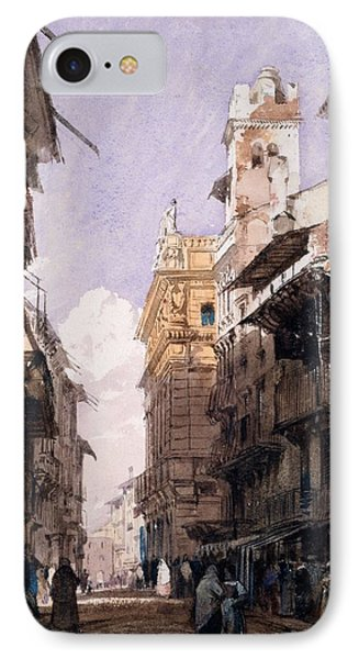 Corso Saint Anastasia, Verona IPhone Case by Richard Parkes Bonington