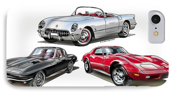 IPhone Case featuring the digital art Corvette Generation by Thomas J Herring