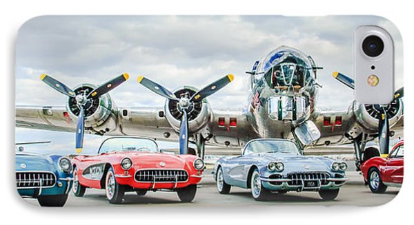 Corvettes With B17 Bomber IPhone Case by Jill Reger