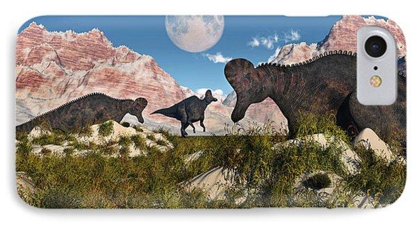 Corythosaurus Nesting Ground Set IPhone Case by Mark Stevenson