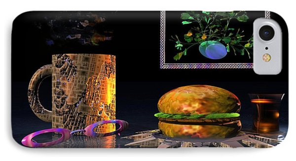 IPhone Case featuring the digital art Cosmic Burger by Jacqueline Lloyd