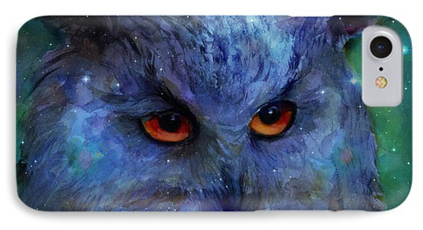 Cosmic Owl Painting IPhone Case by Svetlana Novikova
