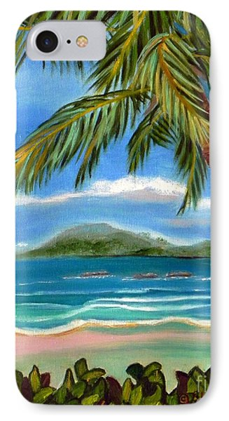 IPhone Case featuring the painting Costa Rica Highs   Costa Rica Seascape Mountains And Palm Trees by Shelia Kempf