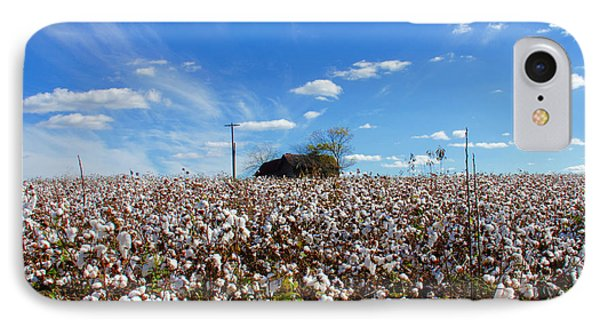IPhone Case featuring the photograph Cotton Field Under Cotton Clouds by Andy Lawless