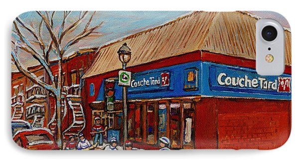 Couche Tard Rue Wellington Verdun Street Scene Montreal Hockey Art Carole Spandau IPhone Case by Carole Spandau