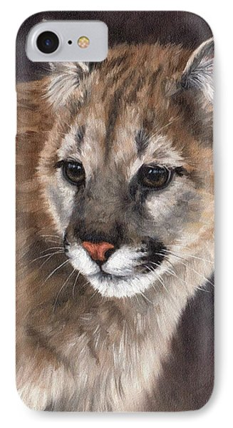 Cougar Cub Painting IPhone Case by Rachel Stribbling