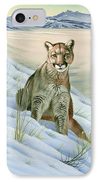 'cougar In Snow' IPhone Case by Paul Krapf