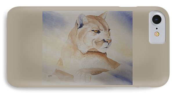 IPhone Case featuring the painting Cougar On Watch by Richard Faulkner