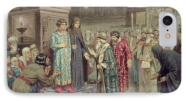 Council Calling Michael F. Romanov 1596-1645 To The Reign, 1880 Wc On Paper IPhone Case by Aleksei Danilovich Kivshenko