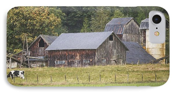 IPhone Case featuring the painting Country Art - Rustic Old Barns With Cow In The Pasture by Jordan Blackstone
