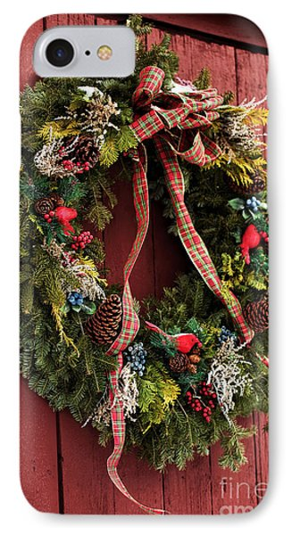 Country Christmas Wreath IPhone Case by John Rizzuto