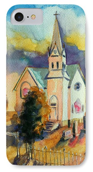 IPhone Case featuring the painting Country Church At Sunset by Kathy Braud