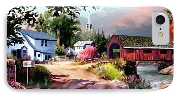 Country Covered Bridge 2 IPhone Case by Ron Chambers