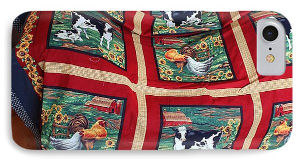 Country Cows And Roosters Quilt IPhone Case