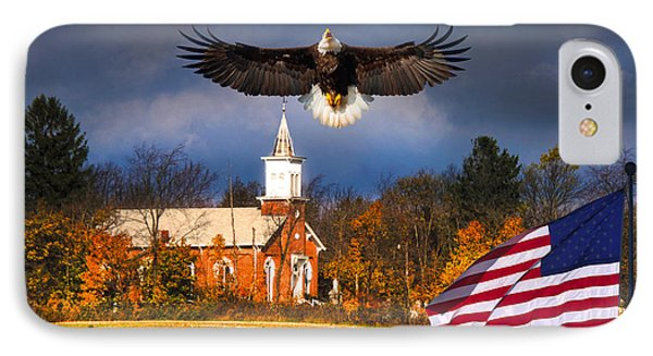 country Eagle Church Flag Patriotic IPhone Case by Randall Branham