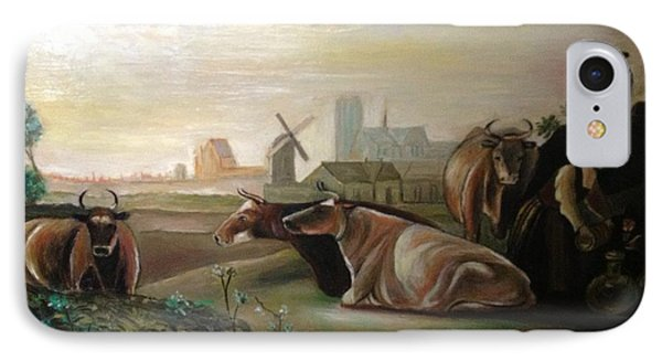 IPhone Case featuring the painting Country Landscapes With Cows by Egidio Graziani