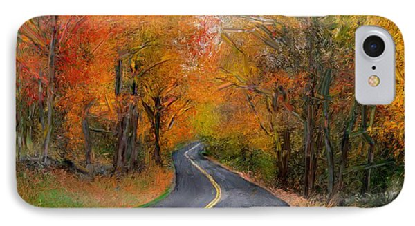 IPhone Case featuring the painting Country Road In Autumn by Bruce Nutting