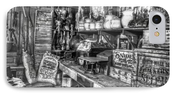 Country Store Supplies Black And White Phone Case by Ken Smith