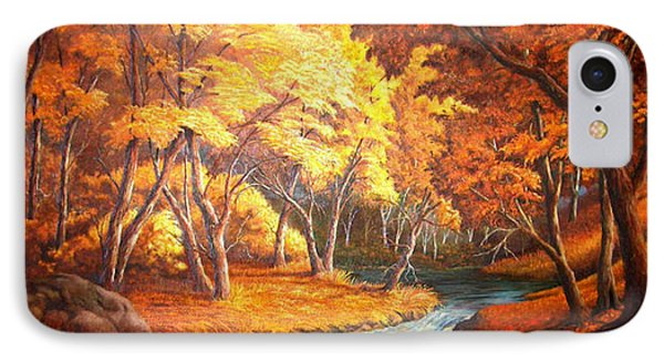 IPhone Case featuring the painting Country Stream In The Fall by Loxi Sibley