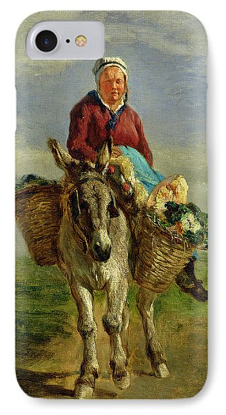Country Woman Riding A Donkey IPhone Case