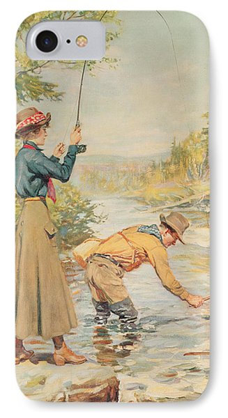 Couple Fishing On A River IPhone Case