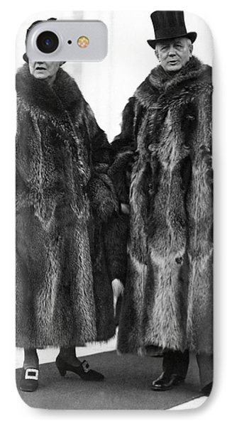 Couple In Coonskin Coats IPhone Case by Underwood Archives