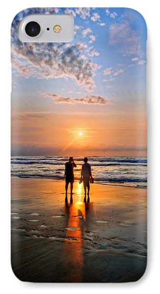 Couple On Beach At Sunset IPhone Case by Mikel Martinez de Osaba