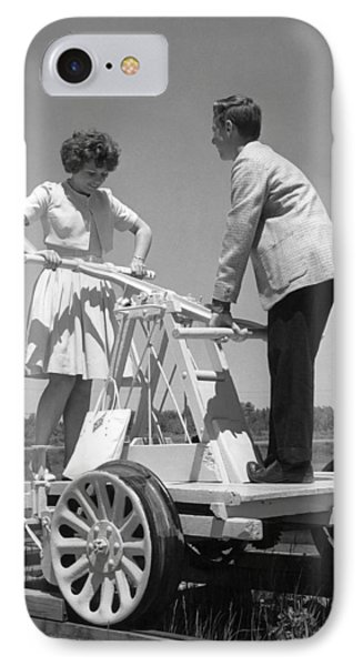 Couple Powers A Railroad Cart IPhone Case