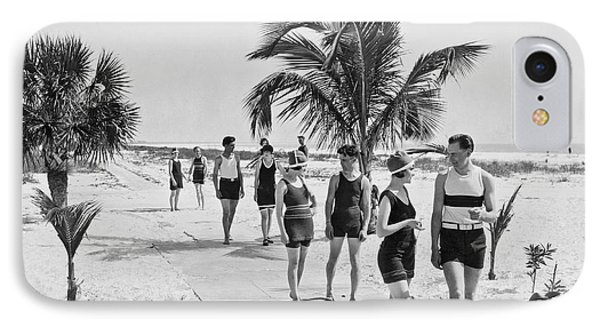 Couples Strolling Along The Pathway On The Beach. IPhone Case by -