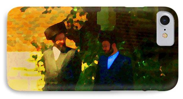 Covenant Conversation Two Men Of God Hasidic Community Montreal City Scene Rabbinical Art Carole Spa Phone Case by Carole Spandau