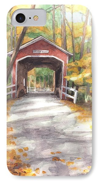 Covered Bridge Autumn Shadows Watercolor Painting IPhone Case