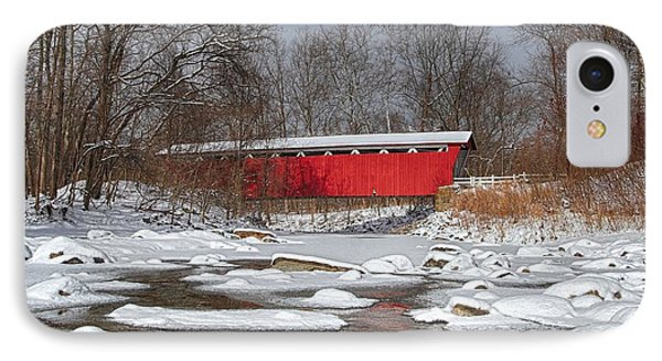 covered bridge Everett rd. Phone Case by Daniel Behm