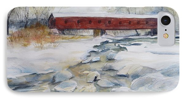 Covered Bridge In Snow Phone Case by Heidi Brantley