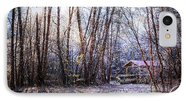 Covered Bridge In The Winter IPhone Case by Debra and Dave Vanderlaan