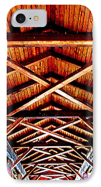 Covered Bridge Structure IPhone Case by Randall Weidner