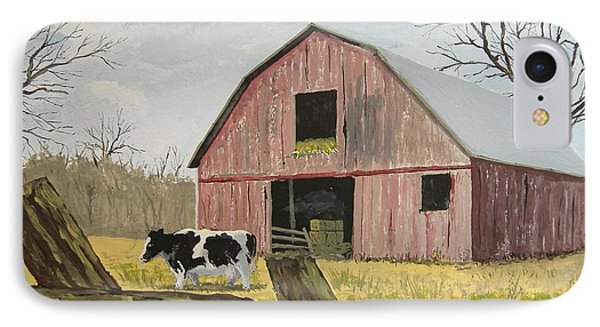 Cow And Barn IPhone Case by Norm Starks