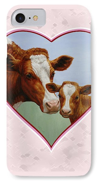 Cow And Calf Pink Heart IPhone Case