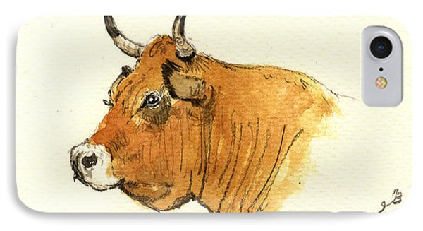Cow Head Study Phone Case by Juan  Bosco