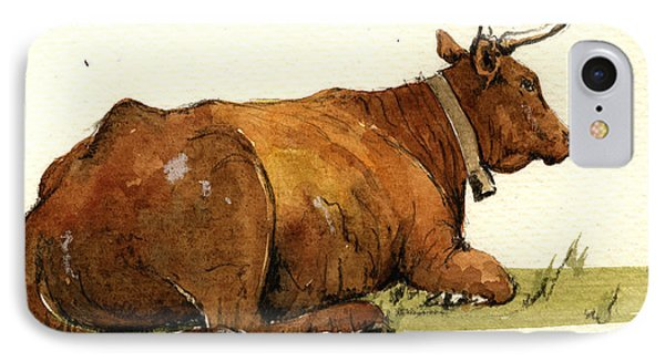 Cow In The Grass IPhone Case by Juan  Bosco