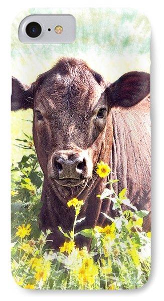 Cow In Wildflowers Phone Case by Ella Kaye Dickey