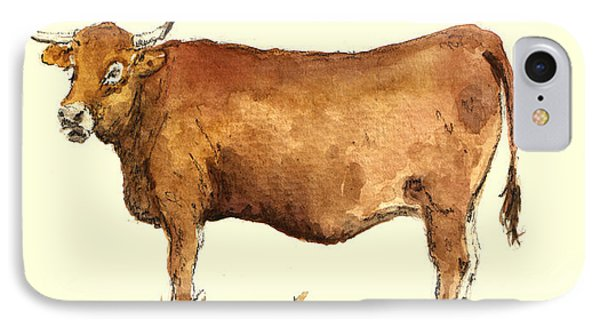 Cow iPhone 7 Case - Cow by Juan  Bosco
