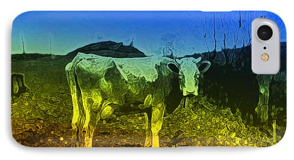 IPhone Case featuring the digital art Cow On Lsd by Cathy Anderson